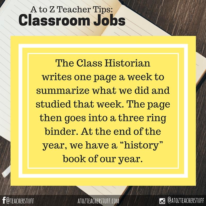 Classroom Jobs: Class Historian